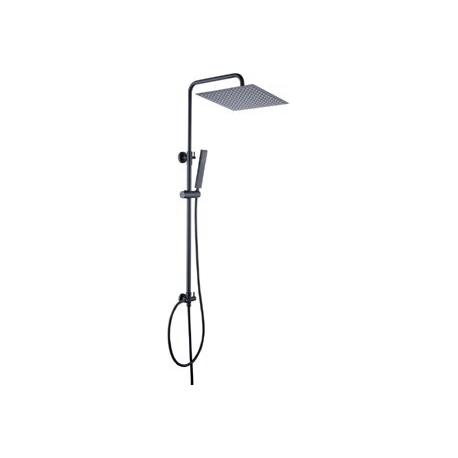 Columna de ducha negro mate cuadrada sin grifo