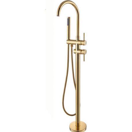 Grifo para bañera exenta oro brillo monomando dorado