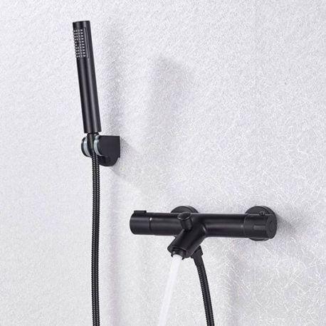 Grifo de ducha / bañera negro mate termostatico