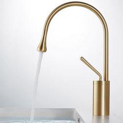 Grifo dorado cepillado de lavabo monomando giratorio 360 oro