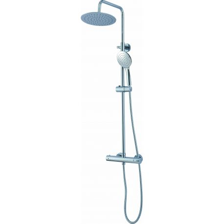 Conjunto de ducha  termostatica  redonda acero inoxidable