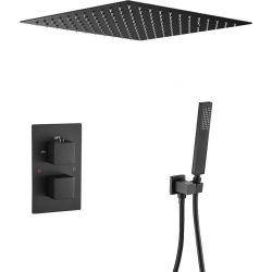 Ducha encastrada a ras termostática de techo negra mate
