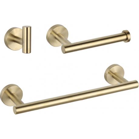 Accesorios de baño en dorado cepillado de acero inoxidable SUS304: Toallero + portarrollos + percha