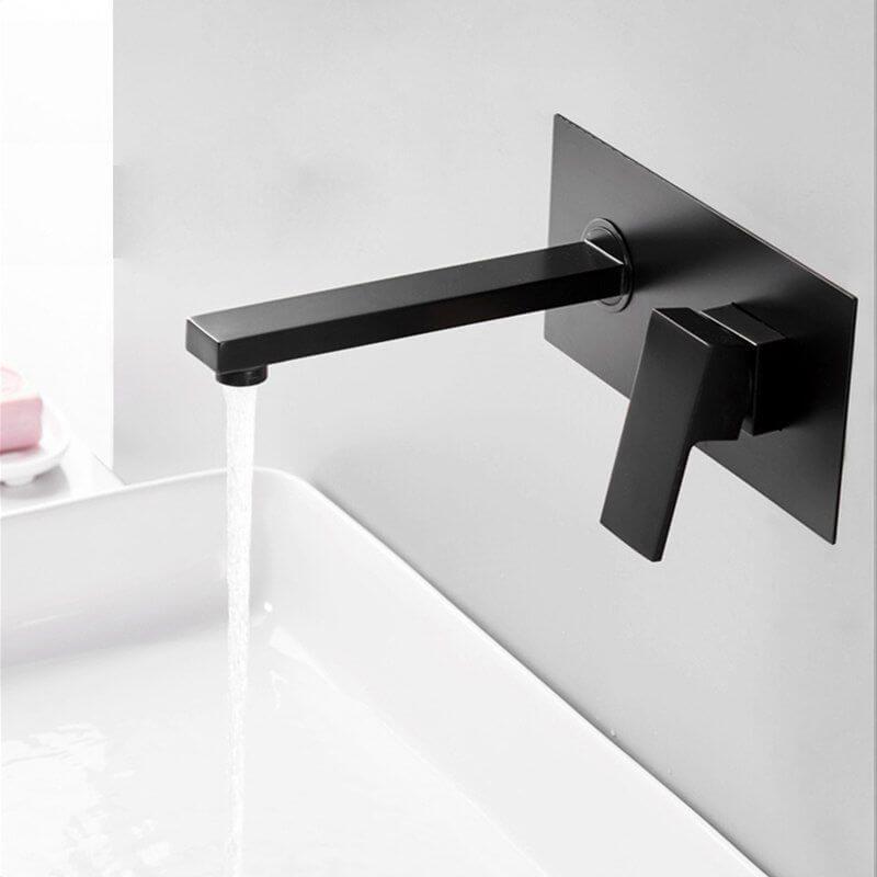 Grifo de lavabo empotrado negro mate pared ca a monomando - Grifos de pared ...