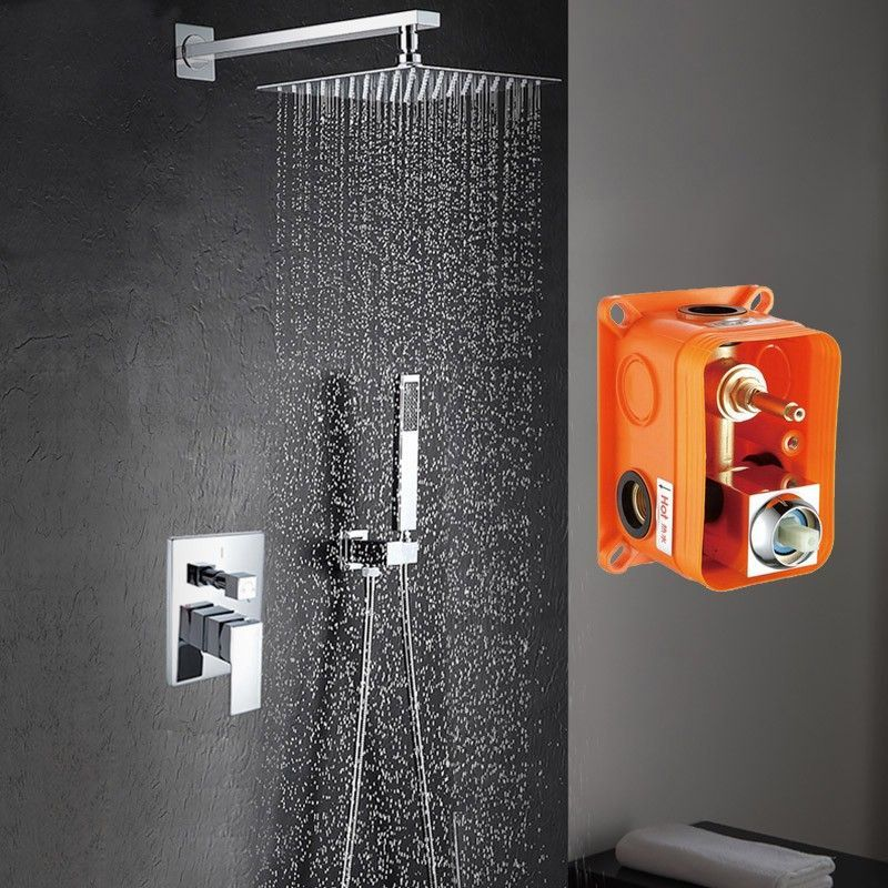 Ducha empotrada con caja pared con rociador extraplano duchas empotradas - Rociador ducha pared ...