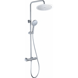 Conjunto de ducha termostático redondo (latón y acero inoxidable)