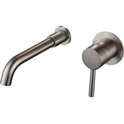 Grifo de lavabo empotrado acero cepillado monomando nikel