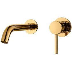 Grifo empotrado dorado de lavabo oro monomando caña redonda