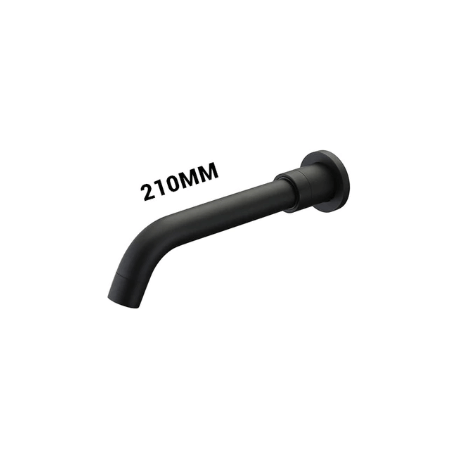 Caño negro mate de 21cm de grifo empotrado