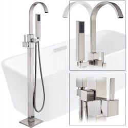 Grifo pie bañera exenta nikel monomando acero cepillado