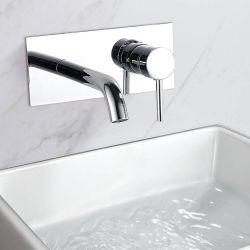 Grifo de lavabo empotrado pared caña